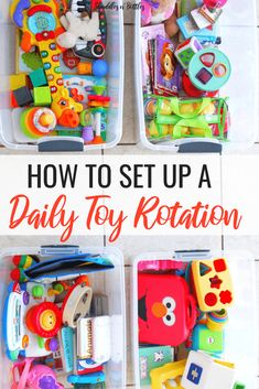 How to set up a daily toy rotation. We saw so many benefits when we implemented this in our home. Much more independent play from our toddlers, less toy clutter and less clean up time. A great way to keep your children stimulated and interested with the t Activities For 1 Year Olds, Toddler Learning Activities, Parenting Toddlers, Infant Activities, Parenting Classes, Parenting Books, Parenting Plan, Parenting Styles, Diy Toys For Toddlers