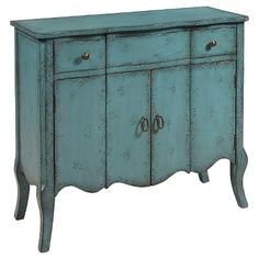 Douglas Accent Chest with Two Doors & 1 Drawer Blue Distressed - Pulaski