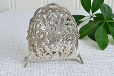 RESERVED Pierced napkin holder , vintage card and letter organizer, silver plate, art nouveau style Vintage Cards, Vintage Items, Silver Candle Holders, Letter Organizer, Plate Art, I Am Happy, Art Nouveau, Silver Plate, Unique Gifts