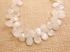 10-White-Moonstone-Pear-Faceted-Briolette-Gemstone-beads-strand-9x13mm-9x11mm