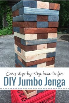 Try this fun, DIY Jumbo Jenga project–makes a super family gift for loads of play and together time! Easy step-by-step with cool bonus tips included! Source by angelinaboerger Outdoor Jenga, Yard Jenga, Jenga Diy, Giant Jenga, Big Jenga, Diy Yard Games, Diy Games, Backyard Games, Lawn Games