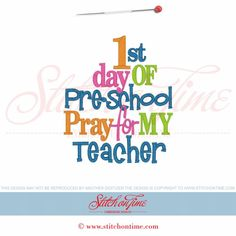58 School : 1st Day Of Pre-School Pray For My Teacher 5x7