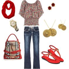 Love everything but the purse and scarf. That top is soooo pretty!