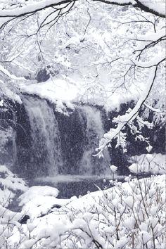 A snowy waterfall (gif) so beautiful!