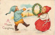 Vintage Christmas Postcard, Boy throwing Snowball through Wreath held by Girl, ca 1910