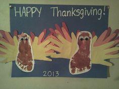 Footprint Turkey w/Hand print feathers! 2013 (Zy&Autumn Turkeys) #Thanksgiving