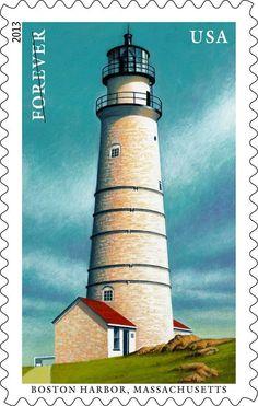 USA 2013 - #Lighthouse Stamp - #Faro de Boston Harbor en #Massachusetts http://dennisharper.lnf.com/