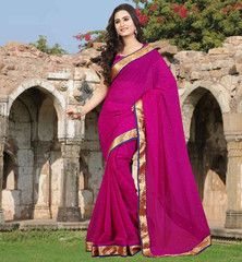 #CASUAL #SAREE WITH #BLOUSE ONLINE SHOPPING IN #INDIA PERFECT PINK CHIFFON SAREE WITH LACE BORDER AND STONES ALL OVER  FABULOUS MATCHING OF COMMON COLOR SAREE BLOUSE COMBINATION