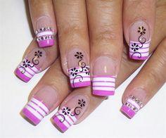 Pink white strip w blk flower