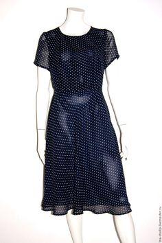 Купить Платье модель 71620 - тёмно-синий, в горошек, платье, платье летнее, платье шелковое
