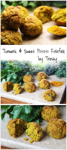 An absolutely delicious baked falafel recipe using sweet potato and turmeric. An absolutely delicious baked falafel recipe using sweet potato and turmeric. Healthy Food Recipes, Veggie Recipes, Whole Food Recipes, Healthy Snacks, Cooking Recipes, Healthy Eating, Alkaline Recipes, Potato Recipes, Ayurveda