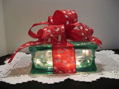Red & White Mittens on GREEN Glass Block by Originalsbysuej, $25.00