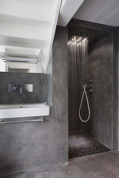 we can also find the existence of concrete bathroom, which includes concrete floor as well as concrete sink. Check out our collection of 28 Best Concrete Bathroom Design Ideas. Grey Bathrooms, Beautiful Bathrooms, Modern Bathroom, Minimalist Bathroom, Masculine Bathroom, 1950s Bathroom, Half Bathrooms, Modern Shower, Luxury Bathrooms