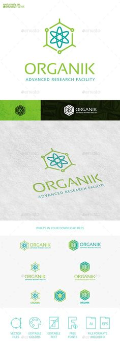 Buy Organik Molecule Atom Tech Logo Template by Tovarkov on GraphicRiver. Organik Molecule Atom Tech is a vector logo template with a minimal flat style atomic structure emblem. The simple an. Logo Design Template, Logo Templates, Branding, Text Fonts, Symbol Logo, Eps Vector, Tech Logos, Biology, Flat Style