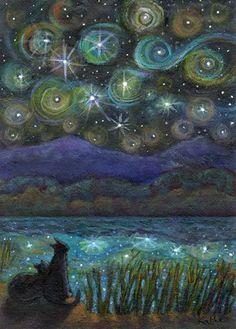 Original aceo painting * starry night * TW Sep * cat art by kathe soave Art And Illustration, Illustrations, Fantasy Kunst, Fantasy Art, Art Sculpture, Whimsical Art, Art Plastique, Night Skies, Cat Art