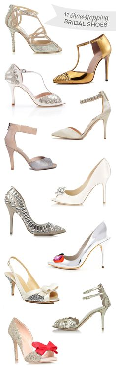 A stunning selection of showstopping bridal shoes available in the shops now from high street to designer...