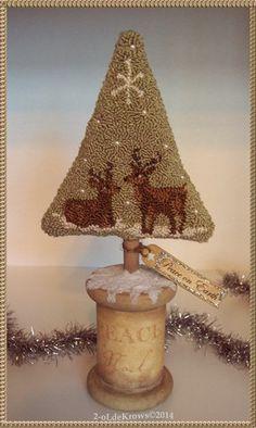 Peace Reindeer Primitive Original Punch Needle Folk Art Christmas Tree OOAK | eBay
