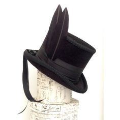 Midnight black velvet neo Victorian Gothic Raven top hat ($200) ❤ liked on Polyvore