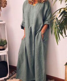 Comfy Dresses, Casual Dresses, Fashion Dresses, Plus Size Vintage Dresses, Simple Kurti Designs, Simple Pakistani Dresses, Ideias Fashion, Short Sleeve Dresses, Long Sleeve