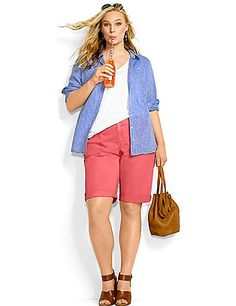 Designed with weekend relaxation in mind, our Bermuda-length Weekend Shorts invite you to kick back in style. Easy-wearing shorts in a soft cotton twill are your go-to for warm weather days with optional rolled cuffs and four pocket style. Button & zip fly closure, with belt loops. lanebryant.com