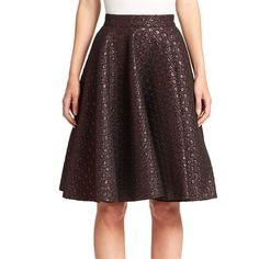 GIAMBA Lurex Jacquard Skirt ($560) ❤ liked on Polyvore featuring skirts, apparel & accessories, red, long flare skirt, long flared skirts, long red skirt, print skirt and print midi skirt