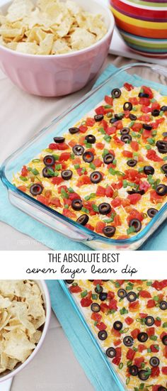 The BEST Seven Layer Dip EVER! There is a secret ingredient that takes this to a whole new level! Appetizer Dips, Appetizer Recipes, Supper Recipes, Seven Layer Bean Dip, Layered Bean Dip, Layered Nacho Dip, Mezze, Bean Dip Recipes, Pepperoni Dip