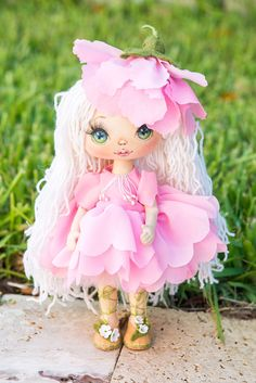 Art doll rag doll textile doll OOAK fabric doll by AliceMoonClub
