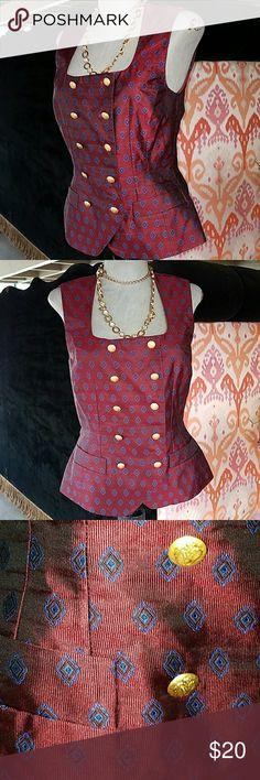 Escada sz 36/6 sm silk vest blouse top 90s vintage It's just cute ! Escada Tops Button Down Shirts