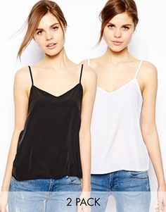 Image 1 of ASOS Woven Cami Top 2 Pack SAVE 17% 38