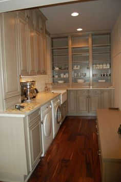 """Combo Laundry with Butler's Pantry ~ Two Thoughts:  """"This is a great use of a butler's pantry. Economical, convenient and gorgeous.""""    """"This may also work as the combo pantry and laundry space...coming in from the garage."""""""