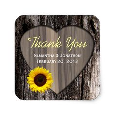 Rustic Wood and Sunflower Wedding Thank You Square Sticker