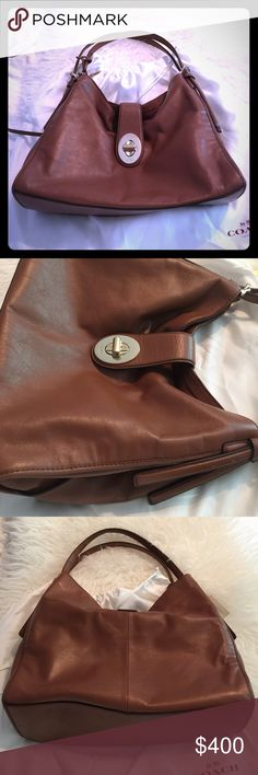 Gorgeous Coach bag, barely touched. This bag is buttery and beautiful. It was bought at full retail for 400.00. I do not use it. The color is Luggage. The gold hardware and classic turnlock closure are all in pristine condition. Multi pockets, zippered interior. Classic equestrian hardware on the handles, two handles. Comes with original dust cover. I will post more photos. Flawless! Coach Bags Shoulder Bags