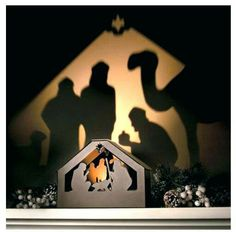 Nativity Shadow Box creates a wondrous display of shadow and light. This Christmas decoration is battery operated. Outdoor Nativity, Diy Nativity, Christmas Nativity Scene, Christmas Yard, Outdoor Christmas, All Things Christmas, Christmas Lights, Christmas Holidays, Christmas Decorations