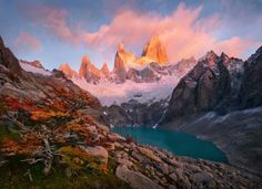 A view from very high in the mountains of Patagonia taken at sunrise after the first snows of Autumn from near my backcountry camp. The view is of Mount Fitz Roy, one of the largest alpine walls in the world. I was lucky with some great light. Location Patagonia Views 16100 Category Landscape Tags PATAGONIA, FITZROY, CERRO, SUSCIA, GLACIER, SUNRISE, AUTUMN, MARCADAMUS  Rise by Marc Adamus