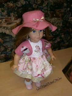 American Girl Doll ,Teddy Bear  Tea  Party, dress, vest, hat and slip [Can be custom sized for other dolls.]
