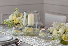 yellow white floral candle wedding centerpiece