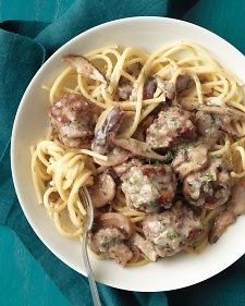 Martha Stewart Beef Stroganoff Meatballs - the oven makes quick work of browning these beef meatballs.