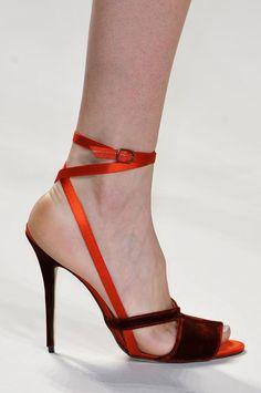 Carolina Herrera Orange Strap & Red Velvet Sandal Fall 2014 #Shoes #Heels