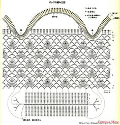 crochet tote in lacy pattern - see photo tote Crochet Diy, Filet Crochet, Crochet Diagram, Crochet Chart, Bead Crochet, Crochet Patterns, Crochet Clutch, Crochet Handbags, Crochet Purses