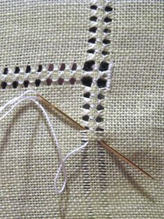 Hemming with drawn thread work - DIY hand hemstitched linen handkerchiefs - would be good for a small embroidery project on a corner Hardanger Hemstitched Linen - how to hand sew a decorative edge on linen - via Little House on the Suburbs It's a handk Hardanger Embroidery, Hand Embroidery Stitches, Embroidery Techniques, Ribbon Embroidery, Sewing Techniques, Cross Stitch Embroidery, Embroidery Patterns, Stitch Patterns, Cross Stitches