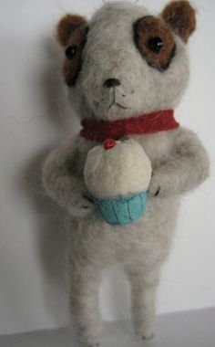 Needle Felted Puppy Dog and cupcake Ornament by Maria Pahls