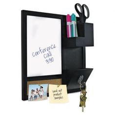"MasterVision Dry-Erase Station Combo Board - 12"" x 12"" - Enameled Steel White Board Surface - Natural Cork Surface - 2 Storage Cups - Cell Phone Holder - Key Holder - Black Wood Frame"