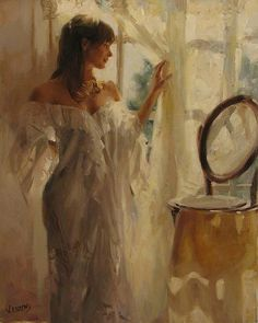 The romnatic paintings by Vicente Romero Redondo, spanish painter, was born in 1956 in Madrid. Due to the work of his father, he grew up in many different towns all over Spain. Woman Painting, Figure Painting, Painting & Drawing, Watercolor Paintings, Original Paintings, Spanish Art, Spanish Painters, Mystique, Beautiful Paintings