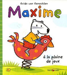 Aujourd'hui, Maxime va à la plaine de jeux. Il va rejoindre ses amis. Ensemble, ils glissent sur le toboggan et montent sur les coqs à ressorts. La bascule est maintenant occupée par Marie et Mariette. Maxime attend patiemment son tour. Quand vient enfin son tour, il est tout seul. Mais une petite lapine se présente et c'est parti. Ils s'amusent bien ensemble. Il est tout heureux d'avoir trouvé une nouvelle amie. Un texte touchant sur l'amitié. Mariette, Coqs, Maxime, Hui, Fictional Characters, Collection, On My Own, Bunny, Playground Slide