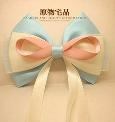 蝴蝶结发饰 蓝色系 雪纱带