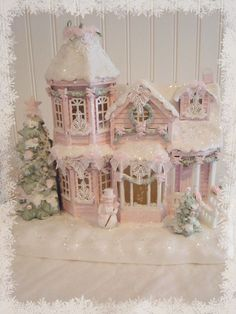 Shabby Pink Victorian Christmas Village House Chic Roses Glitter lights music