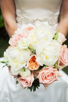 THE bouquet of 2015! Pink roses, garden roses, white peonies, and ranunculus. Just gorgeous!