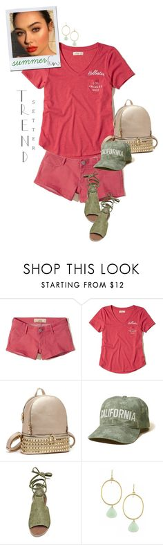 """""""Red & Green Summer Fun"""" by mcheffer ❤ liked on Polyvore featuring Hollister Co., Steve Madden, backpack and denimshorts"""