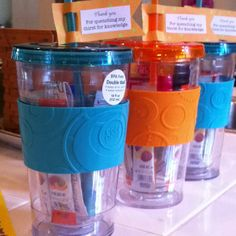 End of the year teacher gift. Crystal light drink mixes, sunscreen and a gift card.