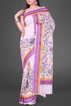 Baby Pink Hand Brush Painted - Kantha Tussar Silk Saree